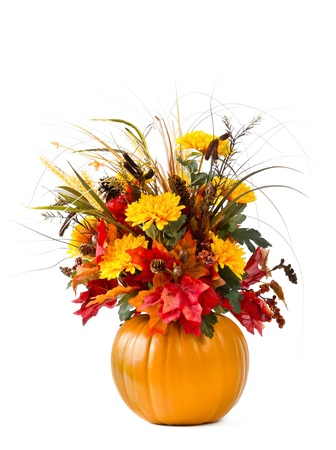 Pumpkin flower arrangement over white
