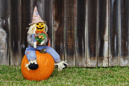 Cheerful looking Scarecrow sitting on the pumpkin against wooden fence Stock Photo - 15638181