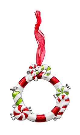 silver frame: Christmas ornament frame with red ribbon