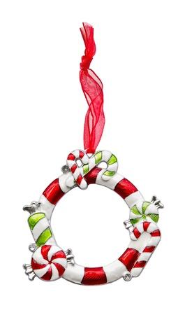 Cornice di Natale ornamento con il nastro rosso Archivio Fotografico - 15706745