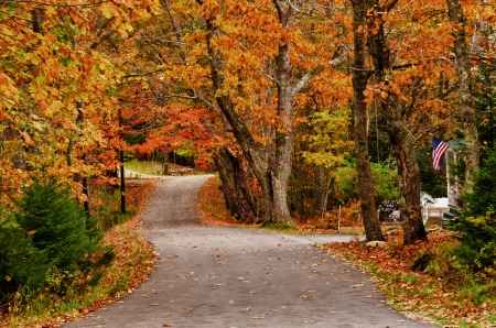 Winding autumn road in New England Stock Photo