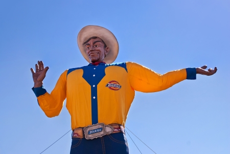 Dallas, Texas - October 12: The Texas State Fair icon Big Tex stands tall and greets people on October 12, 2010 in Dallas, Texas. The statue caught fire and burned down during the 2012 State Fair on October 19. Editorial
