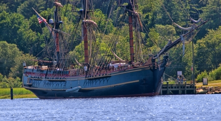 bounty: Bath, USA - July 2009: HMS Bounty tall ship is docked at Maine Maritime Museum in July, 2009 in Bath, Maine. The ship sank off the coast of North Carolina in Hurricane Sandy on October 29, 2012