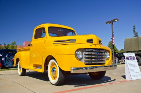 Westlake, Texas - October 27, 2012: A 1949 Ford F1 pickup truck on display at the 2nd Annual Westlake Classic Car Show in Westlake, Texas. Editorial