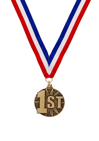 Winning first place medal with tricolor ribbon isolated over white Stock Photo - 17741631