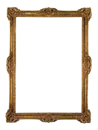 vintage photo: Vintage golden picture frame isolated over white (clipping path included) Stock Photo