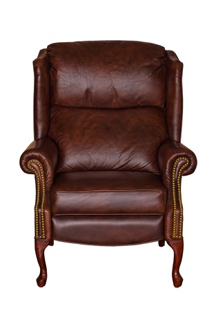 vintage chair: Brown library leather chair isolated over white (clipping path included)  Stock Photo