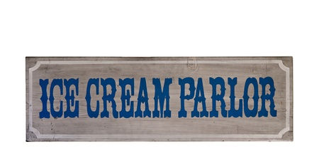 Wooden ice cream parlor sign isolated over white