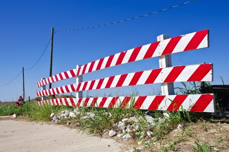 roadwork: Road barrier at a construction or road work site