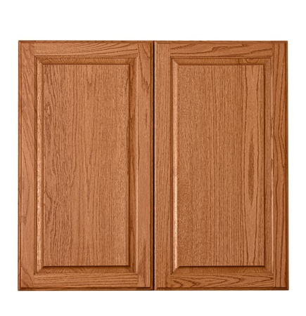 cabinet: Wooden cabinet doors isolated over white  clipping path included  Stock Photo