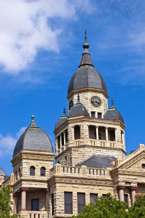 Old Denton County Courthouse in Denton, Texas against blue sky  Copy space