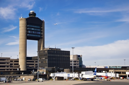 BOSTON, USA - OCTOBER 23, 2012 - Logan International Airport in Boston, Massachusetts. Logan Airport is the largest airport in New England and 19th busiest airport in the United States.