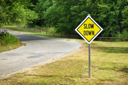 slow: Slow Down yellow traffic sign on the roadside against green woods