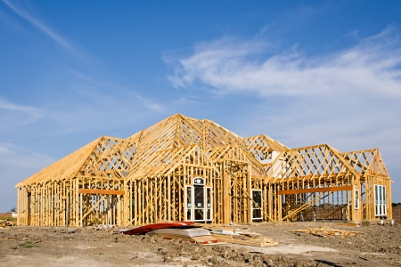 site: New home construction framing Stock Photo