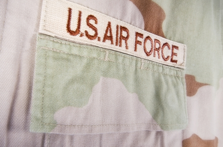 Closeup of US Air Force camouflage desert uniform