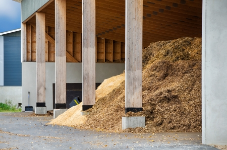 wood chip: Piles of wood chips waiting to be turned into bio fuel for heating