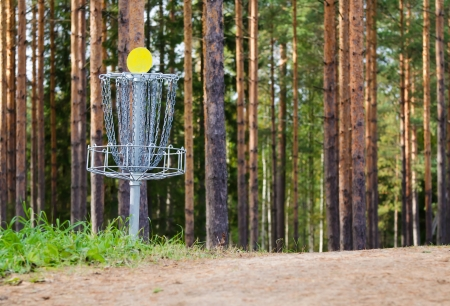 Disc golf hole in the woods Stock Photo - 23273044