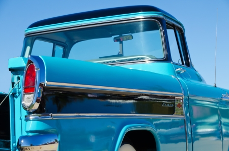 Westlake, Texas - October 19, 2013 - A 1958 Chevrolet Apache pickup truck is on display at the 3rd Annual Westlake Classic Car Show in Westlake, Texas  Rear side view, closeup Editorial