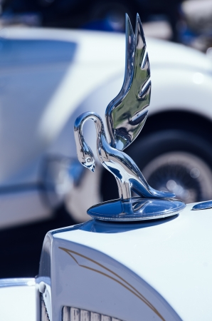 Westlake, Texas - October 19, 2013 - Hood ornament of a 1935 Packard automobile on display at the 3rd Annual Westlake Classic Car Show in Westlake, Texas