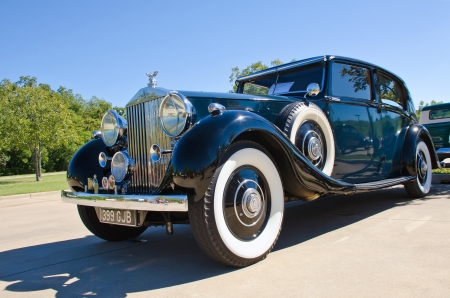 Westlake, Texas - October 19, 2013 - A 1937 Rolls Royce Phantom 3 is on display at the 3rd Annual Westlake Classic Car Show in Westlake, Texas Editorial