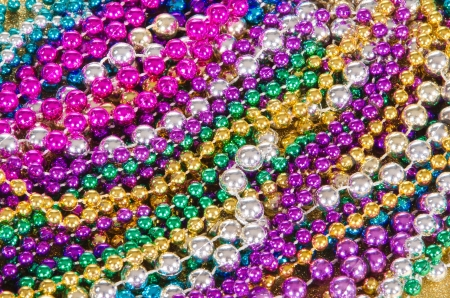 Colorful Mardi Gras beads background photo