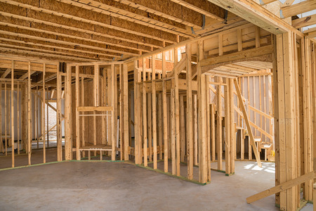 wooden beams: New residential construction home framing  Stock Photo