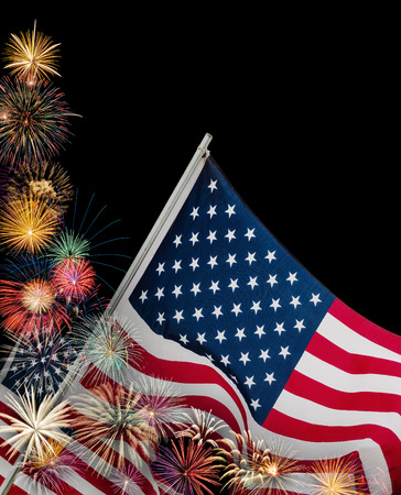 Festive fireworks display with American flags in celebration of 4th of July  Black background with copy space  photo