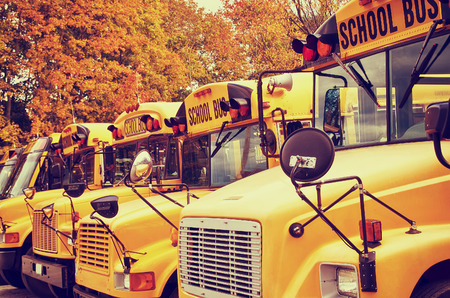 Row of yellow school buses against autumn trees. Shallow depth of field, vintage filter effects. Stock Photo