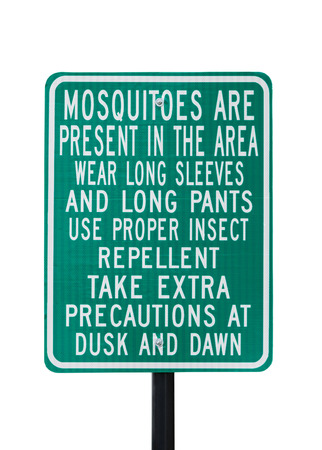 Mosquitoes warning sign isolated on white photo