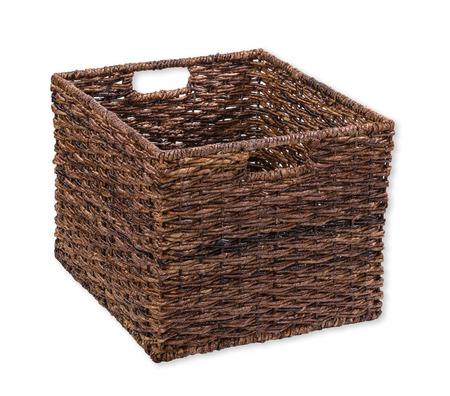 Brown storage cube basket on white photo