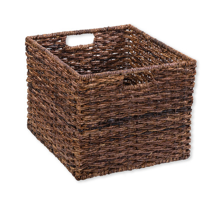 storage box: Brown storage cube basket on white Stock Photo