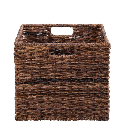 Brown storage cube basket isolated on white photo