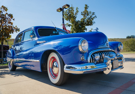 grille: WESTLAKE, TEXAS - OCTOBER 18, 2014: A blue 1947 Buick Super is on display at the 4th Annual Westlake Classic Car Show.