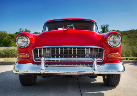 grille: WESTLAKE, TEXAS - OCTOBER 18, 2014: A red 1955 Chevrolet 210 is on display at the 4th Annual Westlake Classic Car Show. Front view. Editorial