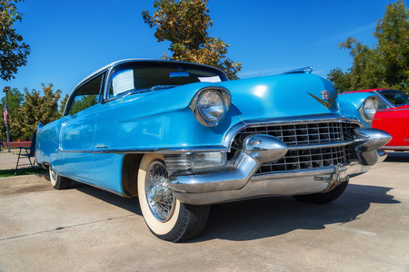 WESTLAKE, TEXAS - OCTOBER 18, 2014: A 1955 Cadillac Coupe DeVille is on display at the 4th Annual Westlake Classic Car Show. Front side view.