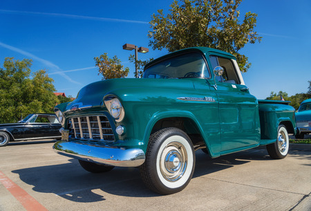 chevrolet: WESTLAKE, TEXAS - OCTOBER 18, 2014: A green 1956 Chevrolet 3100 pickup truck is on display at the 4th Annual Westlake Classic Car Show. Editorial