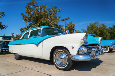 WESTLAKE, TEXAS - OCTOBER 18, 2014: A 1955 Ford Fairlane is on display at the 4th Annual Westlake Classic Car Show. Front side view.