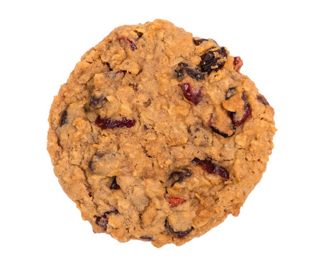 oatmeal cookie: Homemade cranberry oatmeal raisin cookie isolated on white Stock Photo