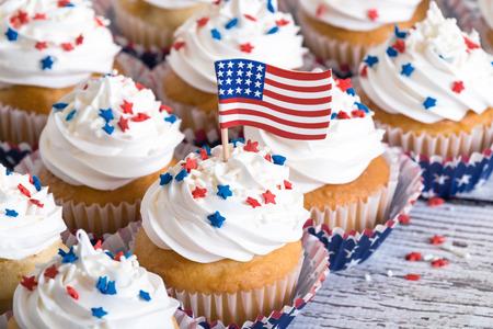 patriotic: Patriotic cupcakes with sprinkles and American flag