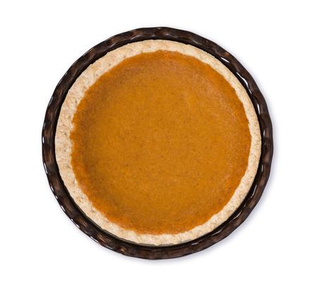 pumpkin pie: Pumpkin pie isolated on white, top view