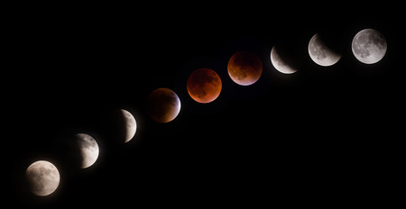 full moon effect: Total supermoon lunar eclipse, also known as a blood moon, phases observed on September 27 2015 in the Texas sky