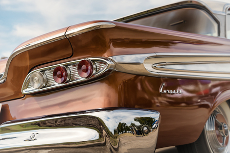 corsair: WESTLAKE, TEXAS - OCTOBER 17, 2015: Taillight details of a 1959 Edsel Corsair Sedan classic car, manufactured by the Ford Motor Company. Editorial
