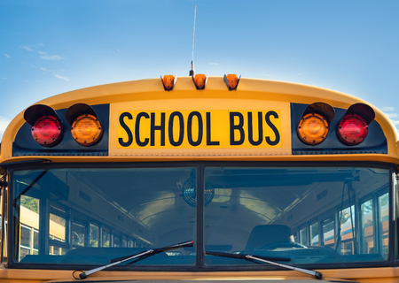 Front view of a yellow school bus