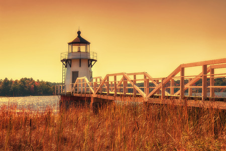 doubling: Doubling Point Lighthouse on the Kennebeck River, Maine. Toned image. Stock Photo
