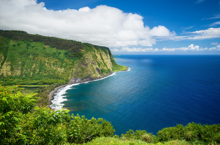 Waipio Valley Lookout view on Big Island, Hawaii Stock Photo