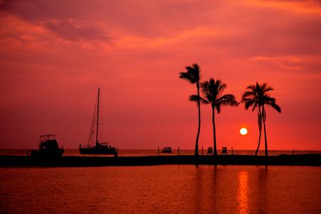 big island: Hawaiian Sunset on Big Island Anaehoomalu Bay