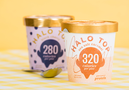 DALLAS, TEXAS - SEPTEMBER 15, 2017: A pint of Halo Top, a high-protein, low-sugar, and low-calorie Ice Cream in sea salt caramel flavor. The diet-friendly Halo Top Creamery ice cream was launched in 2012. Editorial