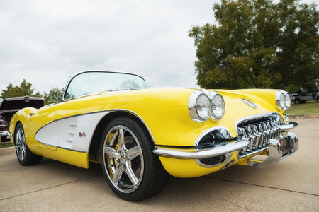 Westlake, Texas - October 21, 2017: A front side view of a yellow 1958 Corvette Chevrolet classic car.