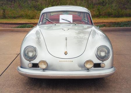 Westlake, Texas - October 21, 2017: A front view of a silver color 1955 Porsche Continental Coupe classic car. Editorial