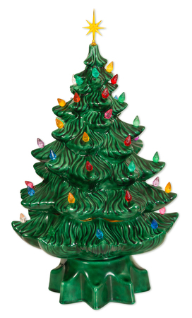 Ceramic Christmas tree decor isolated on white background